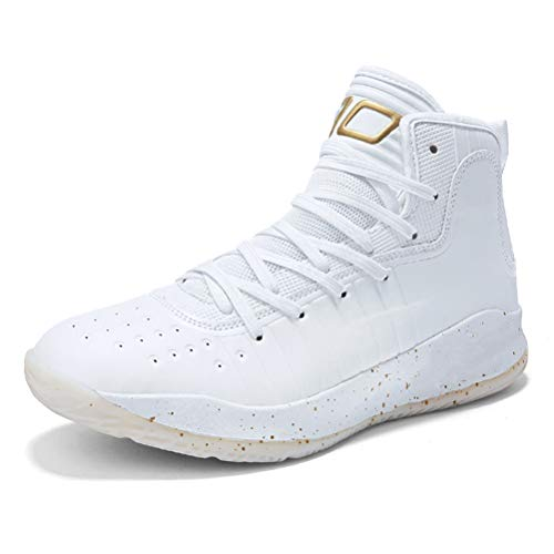 WILTENA Unisex Lifestyle Womens Anti Slip Basketball Shoes Mens Fashion Sports Casual Youth Running Sneakers White&Gold Size 6w/5m