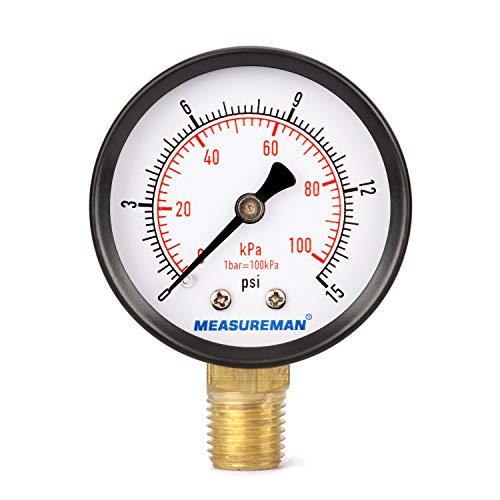 Measureman Low Pressure Gauge 015psi/kpa Dry Air Pressure Gauge 2quot Dial Size 1/4quotNPT Lower Mount