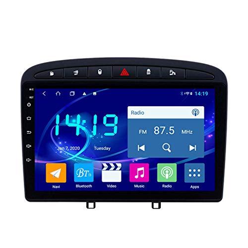 BBGG Android 9 Car Stereo Sat Nav Navegación GPS, con Video en Marcha atrás Llamada Manos Libres Bluetooth/Radio DVD/USB/SD/Audio/Video, Soporte navegador GPS 4G + 64G para Peugeot 408 (2010-2016)