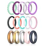 Qinaoco Silicone Wedding Bands Women,15 Pack Thin and Stackable Women's Silicone Rubber Wedding Ring Band for Her, Couple, Souvenir and Outdoor Active Exercise Style