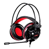 Fesjoy Headphone, H11 Wired Headset Gaming Headset with 50Mm Driver Unit Noise Reduction Microphone Led Light Breathable Earmuffs