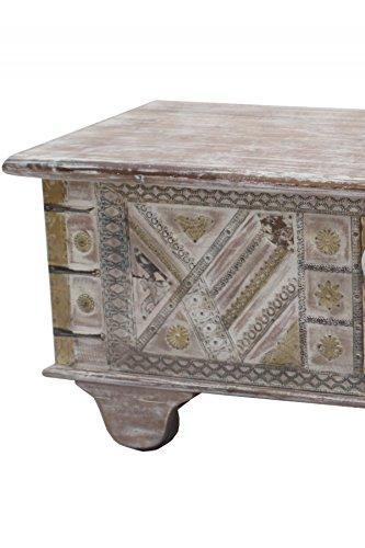 Orientalische Truhe Kiste aus Holz barthel 116cm groß | Vintage Sitzbank mit Aufbewahrung für den Flur | Aufbewahrungsbox mit Deckel im Bad | Betttruhe als Kissenbox oder Deko im Schlafzimmer - 3