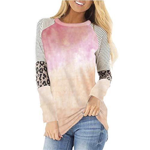 Lässiges Langarm-T-Shirt mit Leopardenmuster und Herbst-Winter-Damen