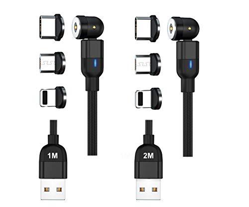 soontec Set 2M+1M Magnetladekabel USB Kabel 360°&180° Magnetisches Rotierendes Ladekabel 2.4A Nylon Geflochtenes Drehmagnetkabel 6 Aufsätze für Micro USB/Type C/Android