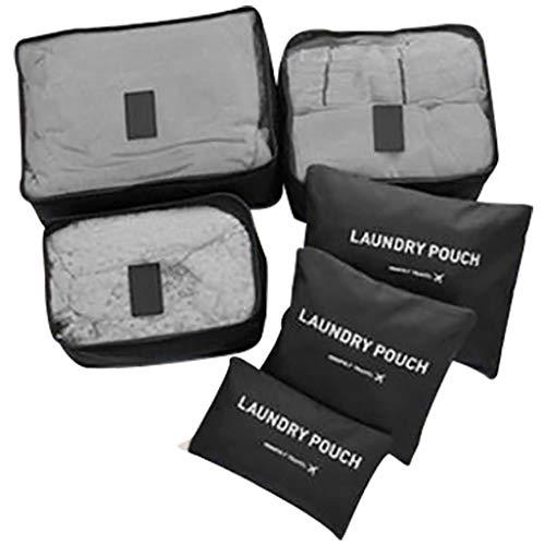 Bascar - Juego de organizadores de maletas impermeables para ropa interior, zapatos, bolsa de almacenamiento, bolsa de equipaje, bolsa de viaje, juego de 6 piezas para ropa, bolsa de viaje en maleta, bolsa de ropa, bolsa para zapatos, Negro