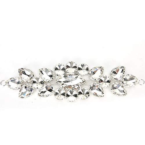 Jeanoko Taladro de Cristal Cristales Apliques de Costura Parche con Motivo de Diamantes de imitación Ropa de Fiesta Nupcial para Vestido de Novia(Style Two)
