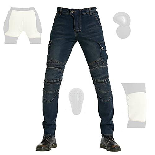 CYLZRCl Vaqueros Moto Hombre Elasticidad Impermeable Racing Pantalones Pantalones Protectores Kevlar Rodilleras CE para Cadera (Color : Blue, Tamaño : M)