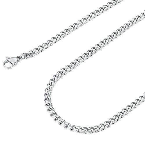 FOCALOOK Chaîne Maille Gourmette Homme 3mm Collier Ras du Cou Acier Curb Chain Necklace 45cm/18 Rappeur Hip Hop Punk Style Cadeau Parfait Accessoire du Pendentif