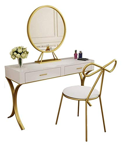 LXYYY Best Design Vanity Benches Dressing Table and Chair Combination Bedroom Golden with Drawers Bedroom Vanities Tables Great Gift for Girls Women (Size : 100x40x75cm)