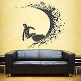 Surfing Stickers murali Adesivo da parete Surfer Surf Sport Decalcomanie Tavola da surf Adesivi murali Stickers murali per ragazzo Beadroom Nero L 62x57 cm