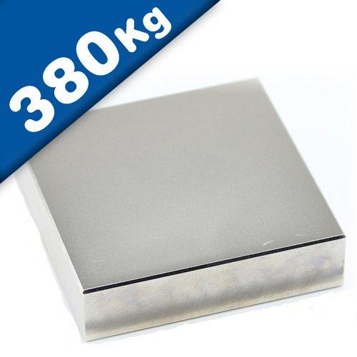 Imán Rectángulo Bloque magnético Neodimio - 80 x 80 x 10mm - Neodimio N52 (NdFeB) Níquel - Fuerza de sujeción 380 kg - Imanes permanentes super potentes de Tierras Raras para la industria y el hogar