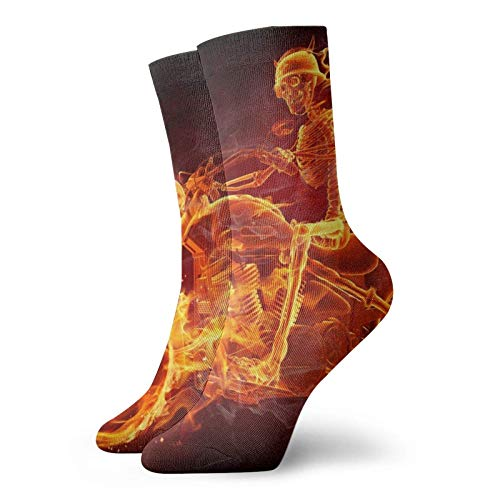 Fire Skeleton Montar Motocicleta Unisex Transpirable Suave Quarter Calcetines Running Calcetines Para Hombres Mujeres Calcetines Atléticos Running