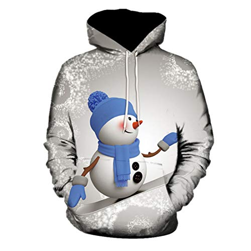 Mens Christmas Jumpers for Women Plus Size Funny Novelty Snowman 3D Printed Sweater Xmas Ugly Oversized Hoodie Long Sleeve Unisex Pullover Sweatshirt Winter Tops XL