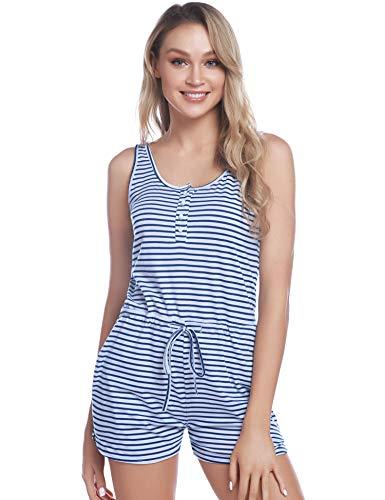 iClosam Jumpsuits dames korte overall strepen zomerjurk vrouwen mouwloos hoge taille korte overall elegante strandkleding Playsuits eendelig overalls broek
