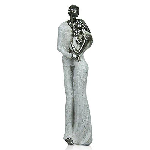 Statuetta in poliresina, soprammobile, motivo: coppia con bambino, bianco/argento, 28 cm
