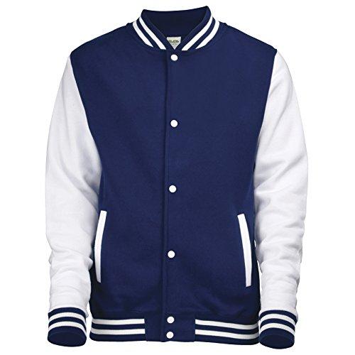 Jacke im Stil einer Uni-/Baseball-Jacke, Unisex Gr. XS, OXFORD NAVY/WHITE