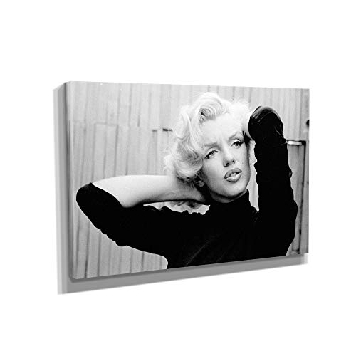 MARILYN MONROE CLASSIC BLACK AND WHITE CANVAS ART WALL ART HOME DECOR (18in x 12in Gallery Wrapped)