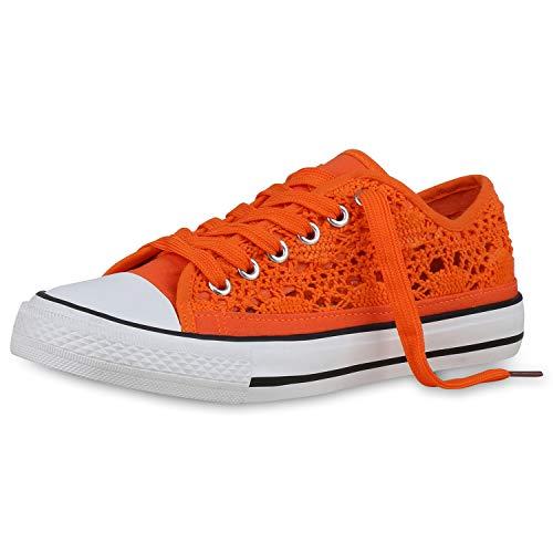 SCARPE VITA Damen Sneaker Low Spitzenstoff Turnschuhe Schnürer Freizeit Schuhe Sportliche Schnürschuhe 176679 Orange 36
