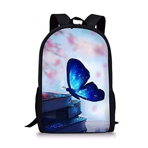 jenny-shop Galaxy Blue Butterfly Kids Backpack School Children Book Bag Travel Daypack léger pour garçons Filles 17 Pouces