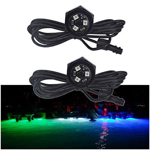 NBWDY 2Pcs LED Boat Drain Plug Underwater Light, 3X3W/12V, 50000hr Lifespan,Garber-Fishing, Swimming, Diving, 1/2' NPT,RGB with Bluetooth Remote Controller