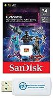 SanDisk Extreme 64GB Micro SDカードモバイルゲーム用 Samsung Galaxy Phone、Motorola Moto Phones、LG スマートフォン (SDSQXA2-064G-GN6GN) MicroSDXCメモリーカードリーダー1個付き