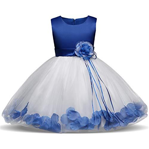 NNJXD Mädchen Tutu Blütenblätter Schleife Brautkleid für Kleinkind Mädchen, Blau 1, 4-5 Jahre/ Etikettgröße- 120