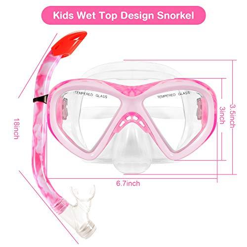 KUSTAR Kids Snorkel Set, Semi-Dry Snorkel Mask Snorkeling Gear Anti-Fog Children Snorkel Set, Impact Resistant Panoramic Tempered Glass Easy Breathing for Boys,Girls,Youth Junior