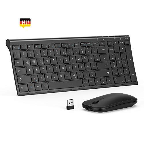 seenda Tastatur Maus Set Kabellos, Ultra-Dünne Solide Wiederaufladbare Tastatur mit Optische Leise Maus, QWERTZ Deutsches Layout für PC/Laptop/Smart TV usw, Schwarz