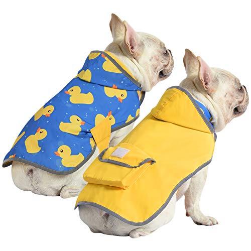 HDE Reversible Dog Raincoat Hooded Slicker Poncho Rain Coat Jacket for Small Medium Large Dogs (Yellow Ducks, M)
