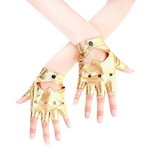 JISEN Women Heart Cutout Punk Half Finger PU Leather Performance Gloves Gold