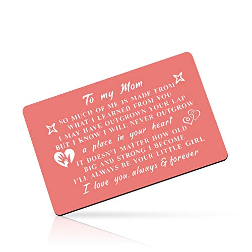 Birthday Gift for Mom Mother Engraved Wallet Card Inserts Mother's Day Gift Mom Gift from Daughter Metal Wallet Insert Card Christmas Wedding Gift for Mommy Mom Mother Family Card Gift
