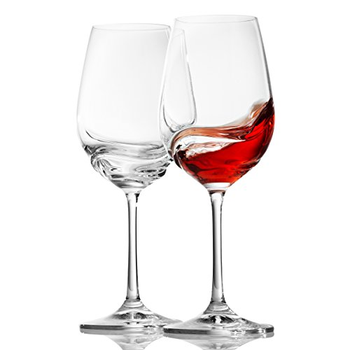 Crystalex Turbulence - Set di 2 bicchieri da vino rossi a stelo lungo, resistenti, ideali per Bordeaux, Merlot, vino rosso o bianco, cristallo universale, 350 ml