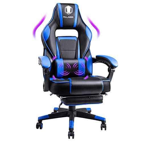 KILLABEE Massagesessel, Gaming-Stuhl, hohe Rückenlehne, PU-Leder, PC, Racing, Computer, Schreibtisch, Büro, Drehgelenk, mit einziehbarer Fußstütze und verstellbarer Lendenwirbelstütze (blau)