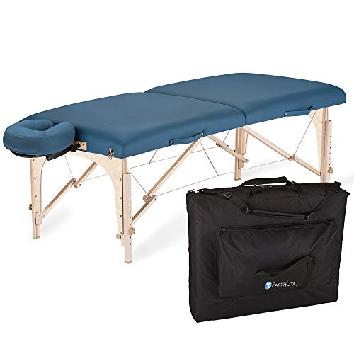 EARTHLITE Mobile Massageliege Harmony DX REIKI - Komplettpaket aus Ahornholz inkl. Verstellbarer Deluxe Kopfstütze & Tasche, Flugzeugbauqualität, Reiki Endplatten