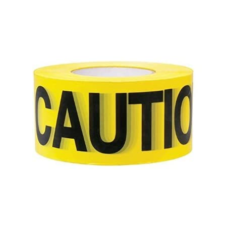 """Premium Yellow Caution Tape • 3 inch x 1000 feet • Bright Yellow w/ Bold Black Text • 3"""" wide for Maximum Readability • Strongest & Thickest Tape • For Danger/Hazardous areas"""