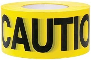 """Premium Yellow Caution Tape • 3 inch x 1000 feet • Bright Yellow w/ Bold Black Text • 3"""" wide for Maximum Readability..."""