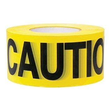 "Premium Yellow Caution Tape • 3 inch x 1000 feet • Bright Yellow w/ Bold Black Text • 3"" wide for Maximum Readability • Strongest & Thickest Tape • For Danger/Hazardous areas"