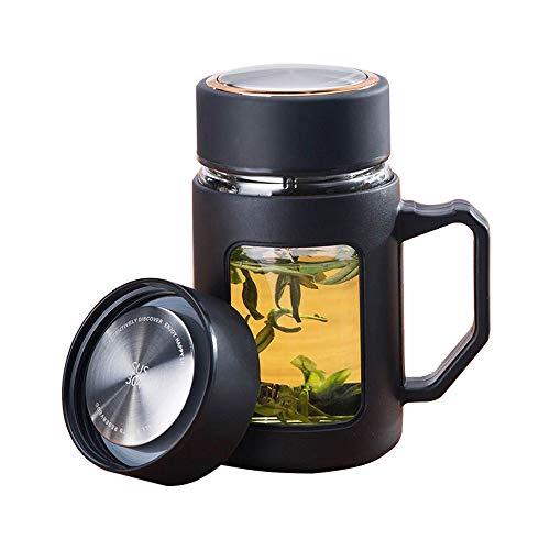 NJZYB Portátil de Cristal Taza de té, de Doble Pared de Vidrio...