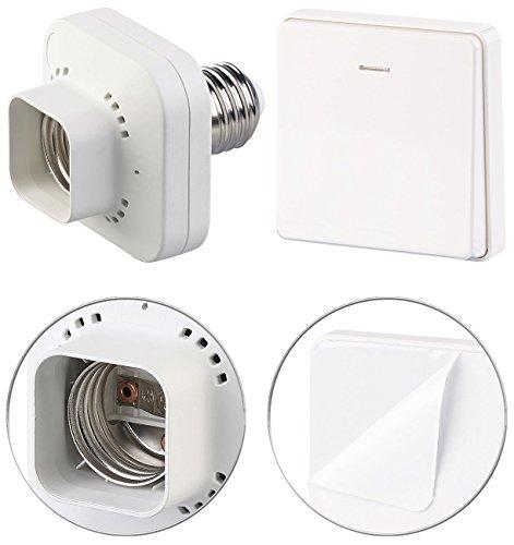 CASAcontrol Switch: E27-Lampenfassung mit kinetischem Funk-Taster (groß), bis 60 Watt (Funkfassung)