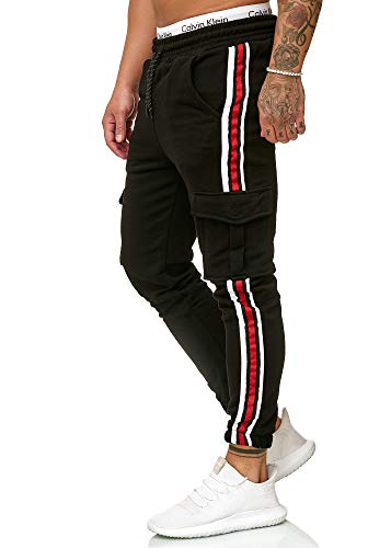 OneRedox Herren | Jogginghose | Trainingshose | Sport Fitness | Gym | Training | Slim Fit | Sweatpants Streifen | Jogging-Hose | Stripe Pants | Modell 1224 Schwarz XXL