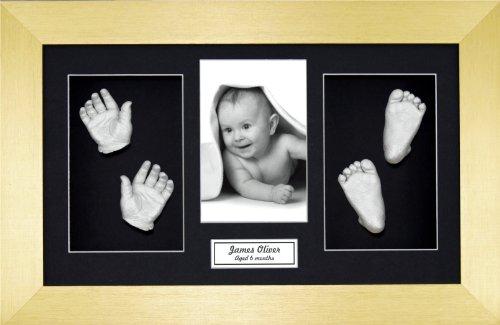 Anika-Baby Kit de moulage de pieds et de mains de bébé avec cadre brossé à passe-partout et peinture métallique Doré/noir/argenté Taille L 37 x 22 cm