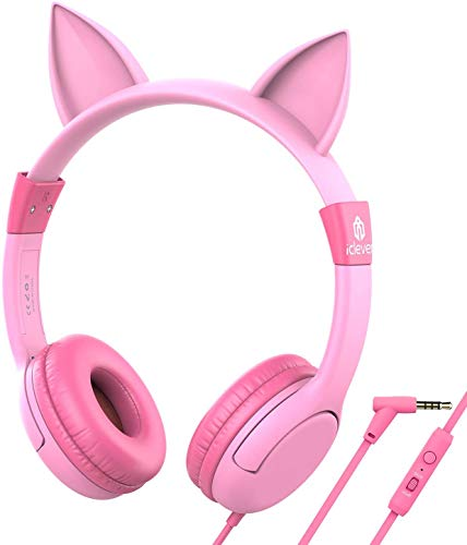 iClever BoostCare Kids Headphones, Cat-inspired Wired On-Ear Headsets with 85dB Volume Limited, Food Grade Silicone Material (Kids-friendly), 3.5mm Audio Jack Cable, Children Headphones for Kids, Pink