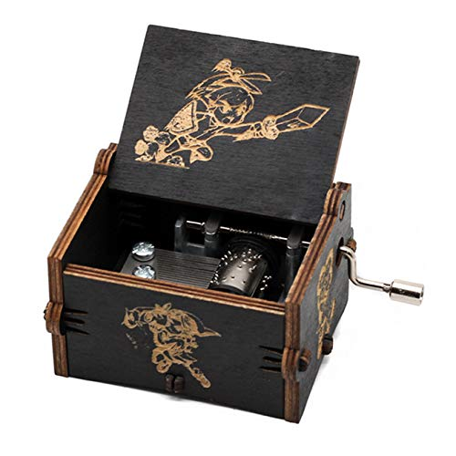 Spieluhr Zelda Music Box 18 Note Antique Carved Musical Box Best Gift for Kids, Friends (Black)