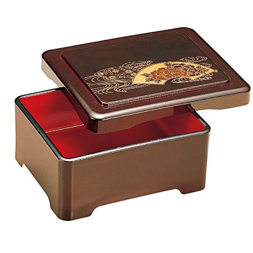 福井クラフト(Fukui Craft) 重箱 茶 18x15x8cm うなぎ の 器 うな重 殿上丼重 溜扇面菊水内朱 5-740-2