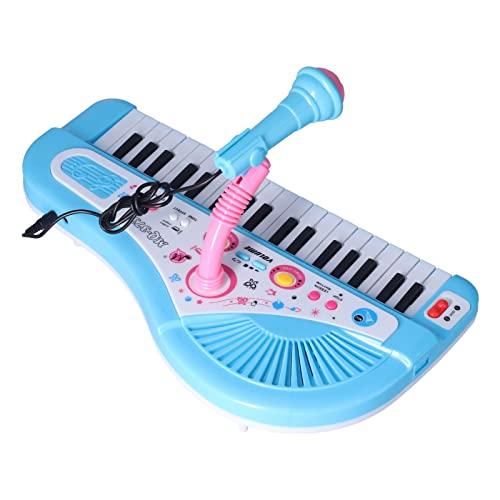 Jopwkuin Teclado De Piano para Niños, Piano para Bebés con 4 Pies Elevados con Micrófono para Niños(Órgano electrónico Azul)