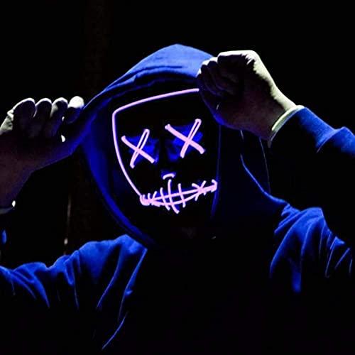 Máscara de Miedo LED como de Purga para Disfraz de Fiesta de Terror de Disfraces de Halloween
