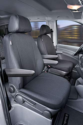 Walser 10506 Funda de asiento de coche ajuste de transportador, funda de asiento de poliéster antracita compatible con Mercedes Vito/Viano, 2 asientos individuales con apoyabrazos en el interior