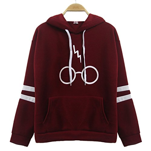 Womens Casual Pullover Hooded Glasses Lightning Printed Sports Solid Color Sweatershirt