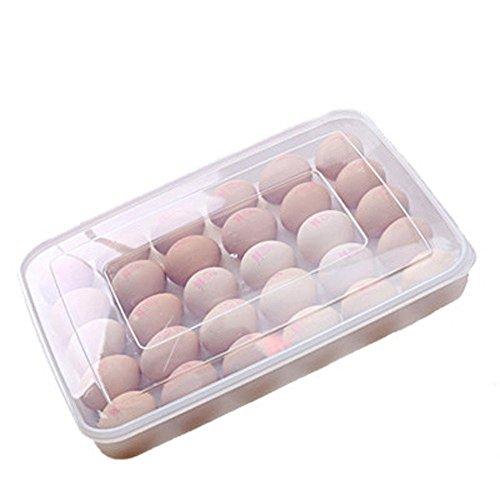 Asentechuk® Eierbox für 30 Eier,Eierhalter Kühlschrank,Eier Halterung Kunststoff Eierbehälter mit Deckel Kühlschrank Container Organisator Transparent