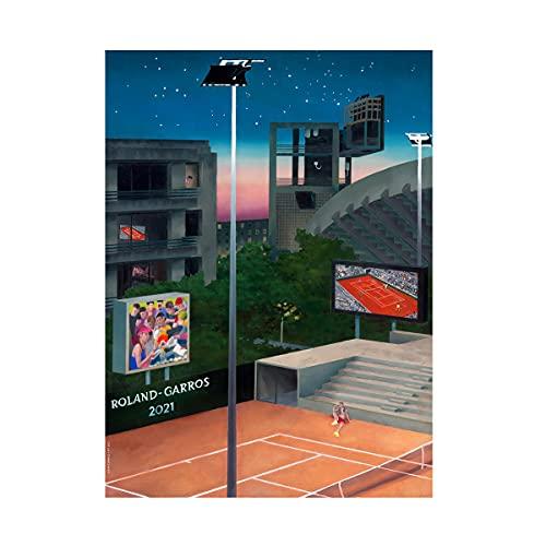 ROLAND GARROS Offizielles Tournier Papier, Rolle, aus festem Karton, 2021, 53 cm x 80 cm, mehrfarbig RPPU0421-MLT-TU Männer, mehrfarbig, normal